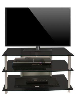 TV meubel kast Sindas zwart glas