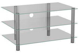 TV meubel TV kast Netasa zilver helder glas