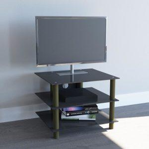 TV HIFI meubel kast Sindas messing zwart glas