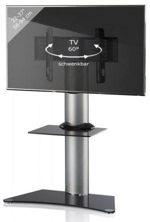 TV standaard Findal draaibaar zilver zwartglas
