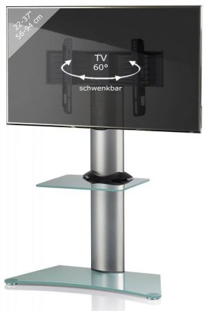 TV standaard Findal draaibaar zilver matglas