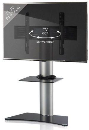 TV standaard Zental verrijdbaar draaibaar zilver zwartglas