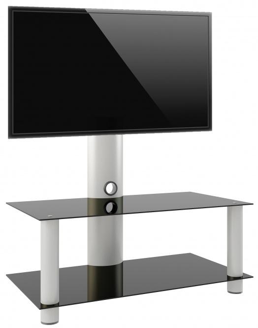 TV meubel Valeni Maxi verrijdbaar draaibaar zilver/zwart